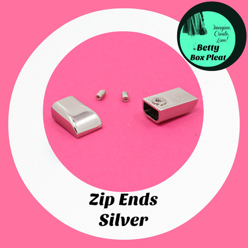 Zip Ends - Silver - pack of 5