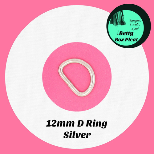 12mm D Ring - Silver - pack of 2