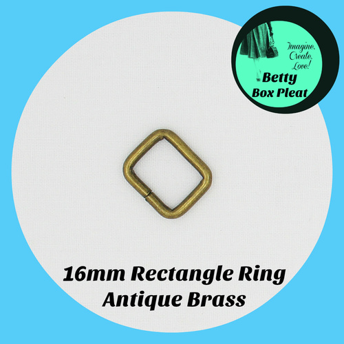 16mm Rectangle Ring - Ant/Brass - Pack of 2
