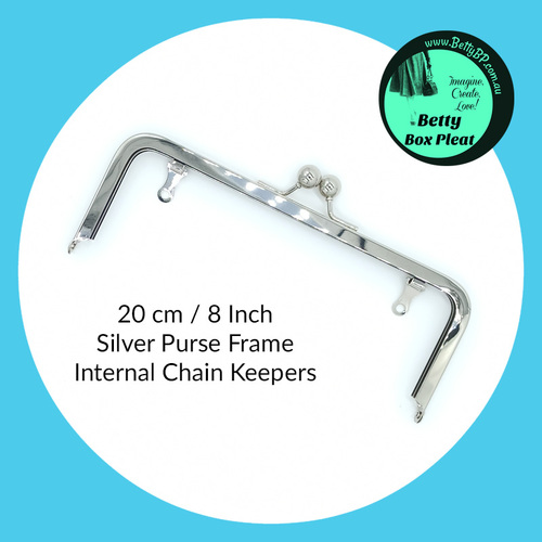 20 cm / 8 Inch Silver Purse Frame - Internal Chain Keepers