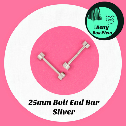 25mm Bolt End Bar - Silver - Pack of 2