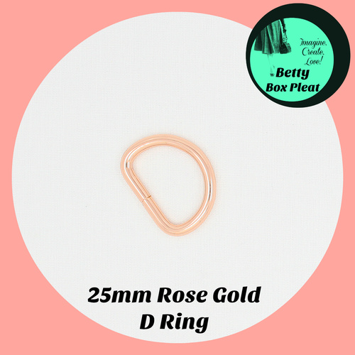 25mm D Ring - Rose Gold - Pack of 2