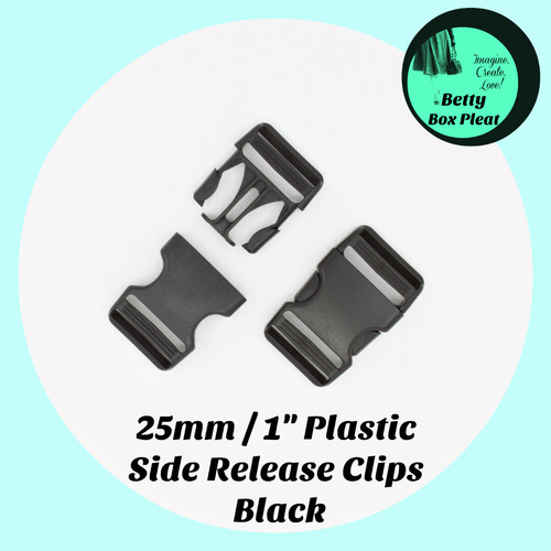 25mm / 1 inch Plastic Side Release Clips - 2 Pack