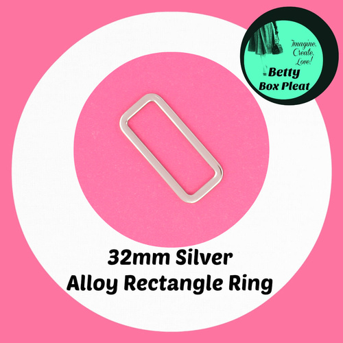 32mm Alloy Rectangle Rings - Silver - Pack of 10