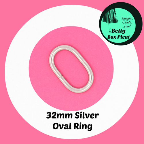 32mm Oval Rings - Silver - Pack of 10