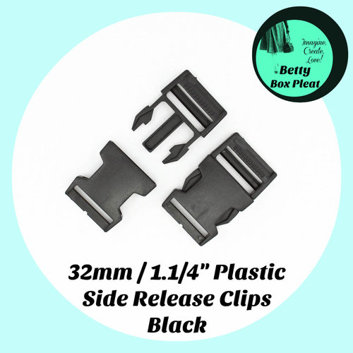 32mm/1.1/4 inch Plastic Side Release Clips- 2 Pack