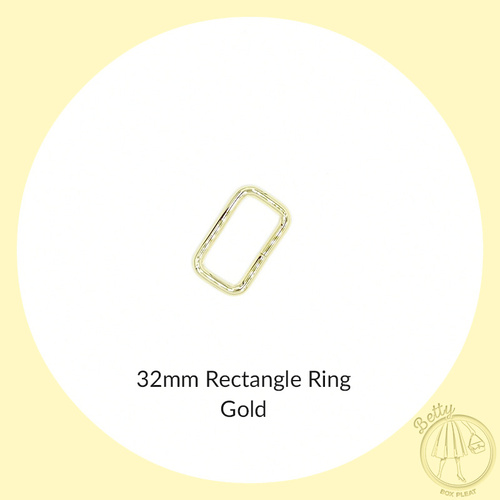 32mm Rectangle Ring - Gold - Pack of 10