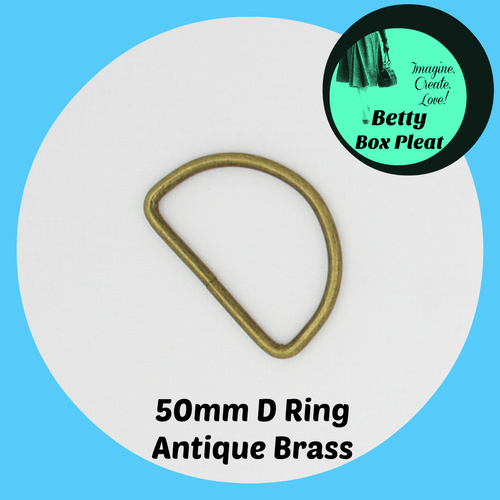 50mm D Ring - Ant/Brass - Pack of 10