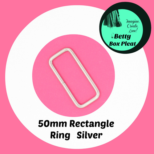 50mm Rectangle Ring - Silver - Pack of 2