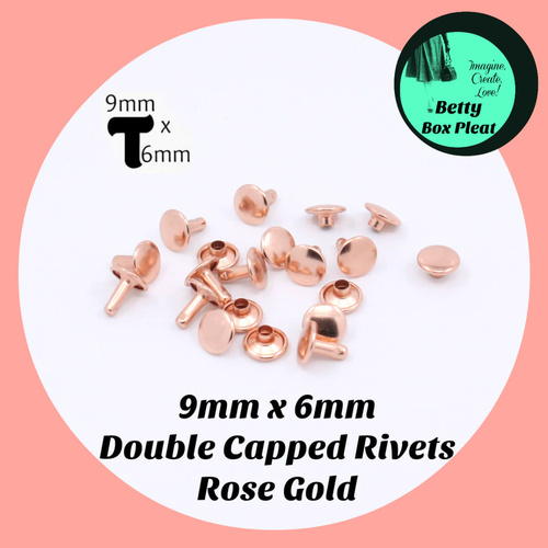 9mm x 6mm Rivets - Rose Gold - Pack of 20