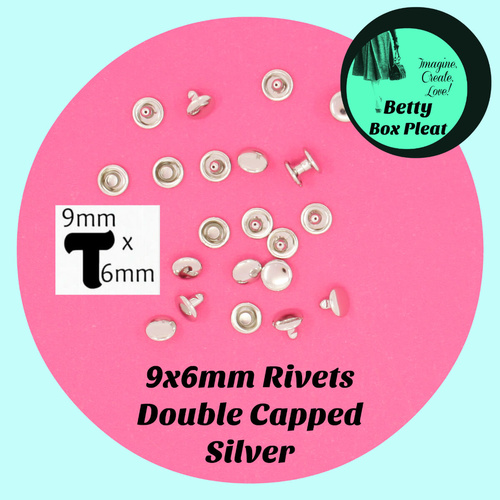 9mm x 6mm Rivets - Silver - Pack of 20