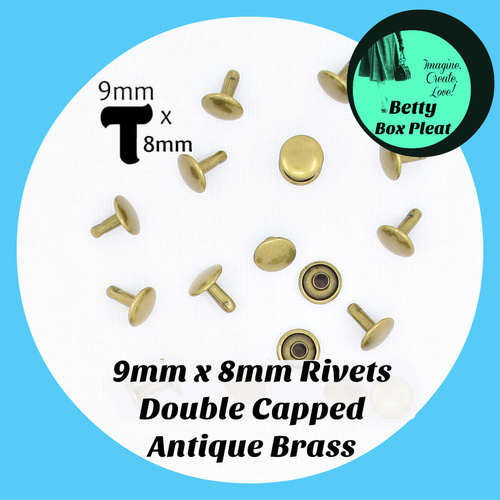 9mm x 8mm Rivets - Ant/Brass - Pack of 20