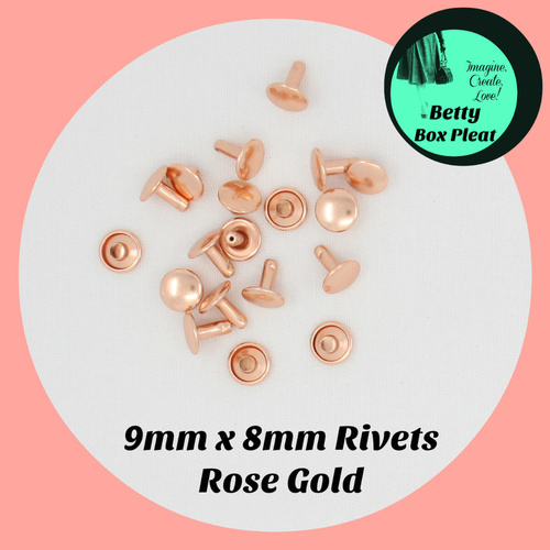 9mm x 8mm Rivets - Rose Gold - Pack of 20