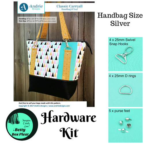 Andrie Designs - Classic Carryall - Silver-Handbag size