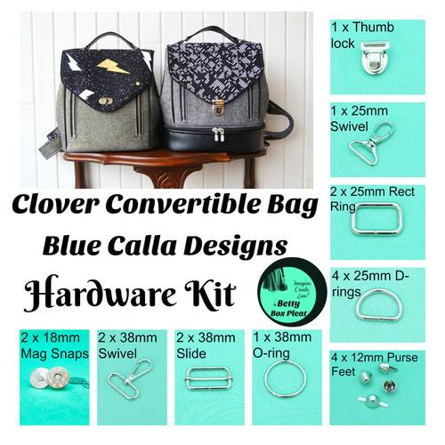 Blue Calla - Clover Convertible Bag - Tab back push Lock